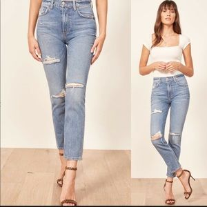 Reformation Julia high waist distress skinny jeans